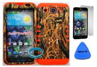 LG Optimus G Pro E980 Camo Mossy Hunter Series Straw Grass Plastic Snap on + Orange Silicone Kickstand Cover Case (Screen Protector, Pry Tool & Wireless Fones TM Wristband Included) Cell Phones & Accessories