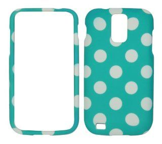 SAMSUNG GALAXY S2 T989 SGH T989 HERCULES (T MOBILE US CELLULAR) HARD RUBBERIZED CASE COVER FACEPLATE PROTECTOR SNAP ON NEW CAMO TURQUOISE POLKA DOT Cell Phones & Accessories