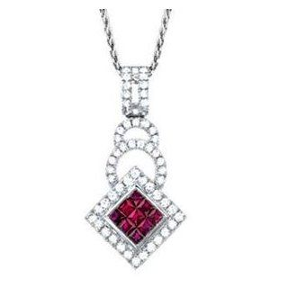 7/8 Carat Ruby & Diamond 14k White Gold Fashion Pendant/Necklace Jewelry
