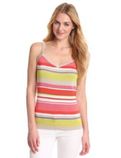 Anne Klein Women's Petite Stripe V Neck Tank, Carnelian Multi, Large