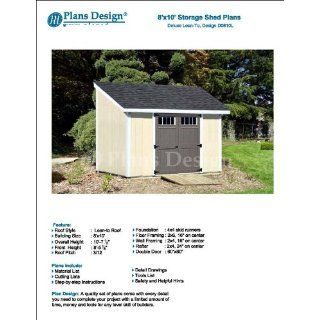 8' x 10' Deluxe Shed Plans, Lean To Roof Style Design # D0810L, Material List and Step By Step Included   Woodworking Project Plans
