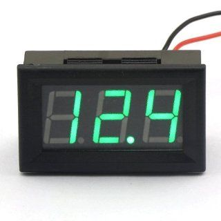 SMAKN� 2 Wire Green Dc 3.5 30v LED Panel Digital Display Voltage Meter Voltmeter Automatically Adjust the Precision   Voltage Testers