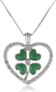 "10k White Gold Green Enamel Four Leaf Clover with Diamond Heart Pendant Necklace (0.07 Cttw I J Color, I2 I3 Clarity), 18"" Jewelry"