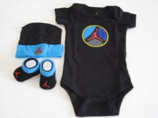 Nike Jordan Infant New Born Baby Boy/Girl 0 6 Months 1 Lap/Shoulder Bosyduits, 1 Pair of Booties and 1 Cap With Jordan Sign Black/Blue 3 PCS Set New Shoes