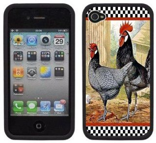 Chicken Rooster Vintage Handmade iPhone 4 4S Black Hard Plastic Case Cell Phones & Accessories