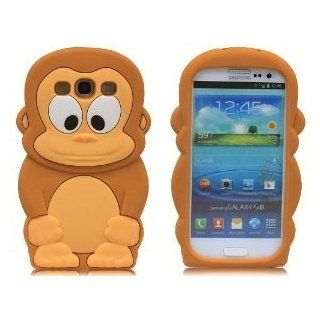 HJX i9300 S3 Brown 3D Cartoon Black Monkey Soft Silicone Skin Case Cover for Samsung i9300 Galaxy S3 III + Gift 1pcs Insect Mosquito Repellent Wrist Bands bracelet Cell Phones & Accessories