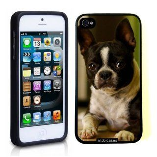 Boston Terrier Dog   Protective Designer BLACK Case   Fits Apple iPhone 5 / 5S Cell Phones & Accessories