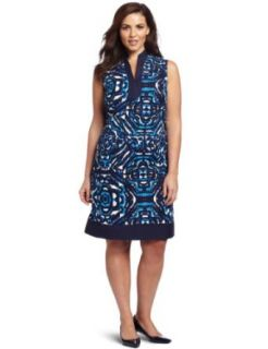Jessica Howard Women's Plus Size Mandarin Linen Dress, Blue, 18W