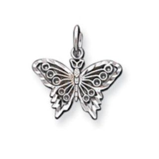 10k White Gold Butterfly Charm Charms Jewelry