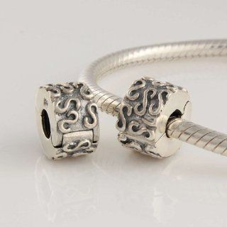"925 Sterling Silver Clip Stopper Charm with ""S"" Design for Pandora, Biagi, Chamilia, Troll and More Bracelets Jewelry"