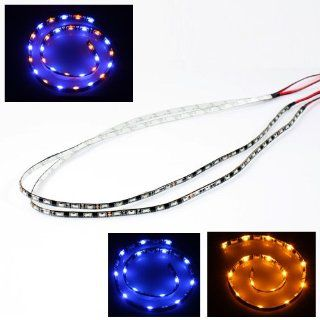 2 x Universal 60cm Switchable Dual Color 60 SMD Blue/Yellow LED Strip for Headlights Fog Lights Bumper Tail Lights Automotive