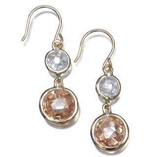 18k Gold Overlay Sterling Silver Clear and Champagne Cubic Zirconia Double Drop Earrings Jewelry
