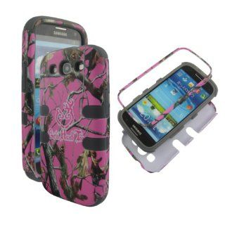 Pink Realtree Girls Hunt Too Grey Silicon Camo Camoflauge Samsung Galaxy S Iii/s3 Gt i9300 Hybrid Strong Full Defender 2 in 1 Hard Protector Cover Case Samsung Galaxy S III S3 (At&t, T mobile, Sprint, Verizon, Us Cellular) Cell Phones & Accessorie