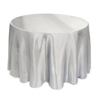 LinenTablecloth 108 Inch Round Satin Tablecloth Silver   Satin Tablecloth For Weddings