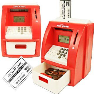 Deluxe ATM Toy Bank w/ ATM Card Red Teach Your Kids to Save and Value Money with This Fun Interactive Bank That Works Just Like a Real Atm Children Learn About Deposits and Withdrawals and Can Even Set and Reach Savings Goals The Bank Also Functions As a