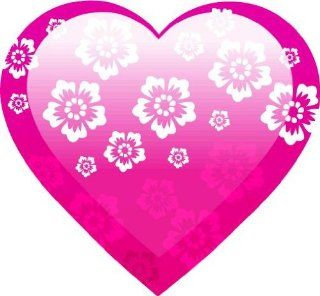 "2"" Helmet Pink flower heart engineer grade reflective vinyl decal sticker for any smooth surface such as windows bumpers laptops or any smooth surface."