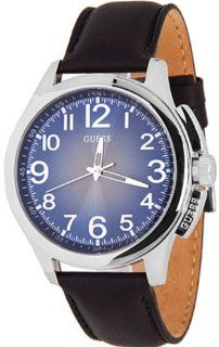Guess Men's W80057G1 Black Leather Quartz Watch with Blue Dial Guess Watches