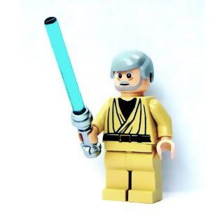 Lego Star Wars Mini Figure Obi Wan Kenobi (white pupils) with Lightsaber (Approximately 45mm / 1.8 Inches Tall) Toys & Games