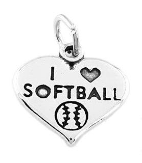 Sterling Silver One Sided I Love Softball Inside Heart Charm Jewelry
