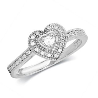 CT. T.W. Diamond Vintage Style Heart Promise Ring in 10K White