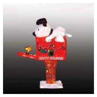 "42"" Animated Tinsel Peanuts Snoopy On Mailbox Lighted 3 D Christmas Yard Art   Outdoor Statues"