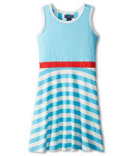 Toobydoo Dress Polka Dot w/ Red Belt Girls Dress (Blue)