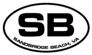 "4"" Sandbridge Beach VA euro oval style printed vinyl decal sticker for any smooth surface such as windows bumpers laptops or any smooth surface."