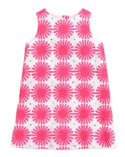 Flower Power Linen Shift Dress, Pink, Sizes 2 6   Milly Minis