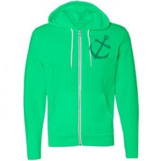 Anchors Away Left Chest Unisex Canvas Neon Fleece Full Zip Hoodie Clothing