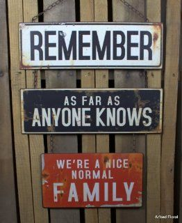 "Shop American Mercantile ""Normal Family"" Metal Sign at the  Home D�cor Store. Find the latest styles with the lowest prices from AMERICAN MERCANTILE"