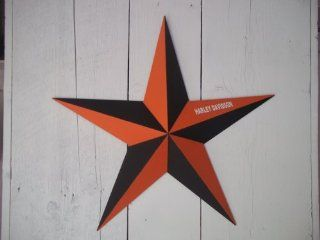 "Dimensional Amish Handmade 16"" Galvanized Barn Star Painted Black/orange with Harley Davidson on Wing . Decorating Your Country Home Has Never Been Easier You Don't Have to Go Far to Find the Perfect Star. Add a Barnstar, or Two To Your Home Dec"