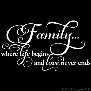 Family Where Life Begins and Love Never Ends Quote Vinyl Wall Decal Sticker Art, Home Decor, White