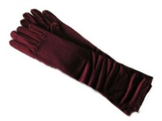 "Adult 15"" Below the Elbow Length Lycra Satin Gloves Burgundy Clothing"