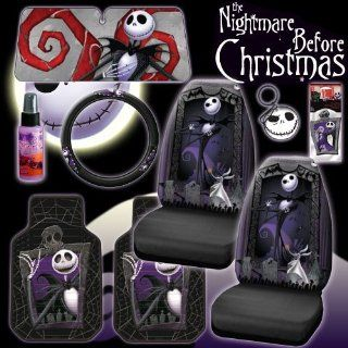 New 9 Pieces Disney Nightmare Before Christmas Jack Skellington Graveyard Car Auto Accessories Interior Combo Kit Gift Set   Front Floor Mats, Seat Covers, Steering Wheel Cover, Large Size Sunshade, Key Chain, Air freshener and Travel Size Purple Slice Au