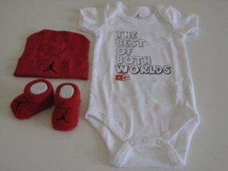 "Nike Jordan Infant New Born Baby Boy/Girl 0 6 Months 1 Lap/Shoulder Bosyduits, 1 Pair of Booties and 1 Cap With Jordan & ""The Best of Both Worlds"" Sign Red/White 3 PCS Set New  Infant And Toddler Bodysuits  Baby"