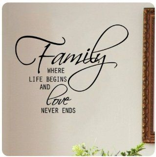 Family where life begins and love never ends Wall Decal Sticker Art Mural Home D�cor Quote