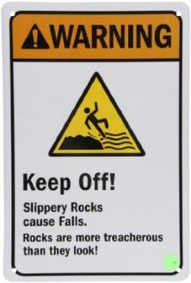 "SmartSign 3M Engineer Grade Reflective Sign, Legend ""Warning Slippery Rocks Cause Falls"", 18"" high x 12"" wide, Black/Orange/Yellow on White Yard Signs"