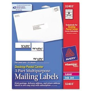 Avery Consumer Products Products   Mailing Labels, 3 Part, 6 Up, 25 Sheets, 2000/PK, White   Sold as 1 PK   3 Part Multipurpose Mailing Labels include delivery address, return address and postage labels. Print all three labels in one easy step with an Aver