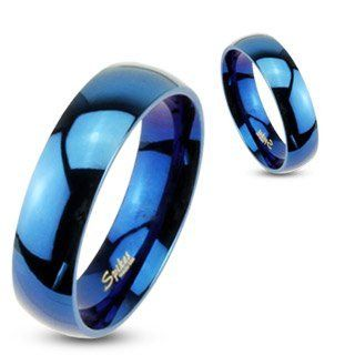 8mm 316L Stainless Steel Mirror Polished Blue IP Dome Wedding Band Ring Sz 9 14; Comes With Free Gift Box Jewelry