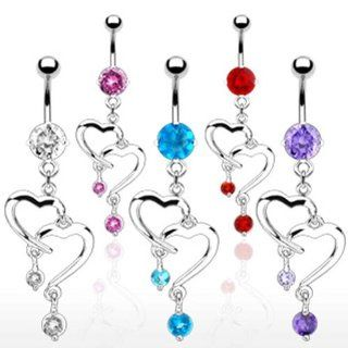 "[Aqua] Romantic Style Fancy Navel Ring with Double Heart Dangle Containing 6 mm Round CZ Stone on Top   14G 3/8"" Long   Aqua Belly Button Piercing Rings Jewelry"