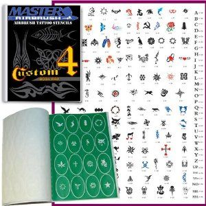 Master Airbrush� Brand Airbrush Tattoo Stencils Set Book #4 Reuseable Tattoo Template Set, Book Contains 160 Unique Stencil Designs, All Patterns Come on High Quality Vinyl Sheets with a Self Adhesive Backing.