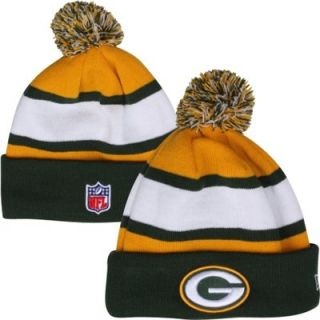 New Era Green Bay Packers Youth On Field Cuffed Knit Hat   Green/Gold