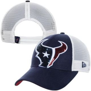 New Era Houston Texans 9FORTY Ladies Sequin Shimmer Adjustable Hat   Navy Blue/White