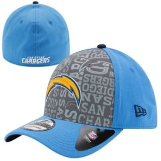 Mens New Era Light Blue San Diego Chargers 2014 NFL Draft 39THIRTY Reverse Flex Hat