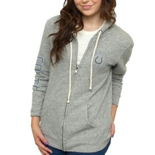 Junk Food Indianapolis Colts Ladies Sunday French Terry Full Zip Hoodie   Ash