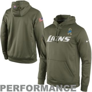 Nike Detroit Lions Salute to Service KO Pullover Performance Hoodie   Olive