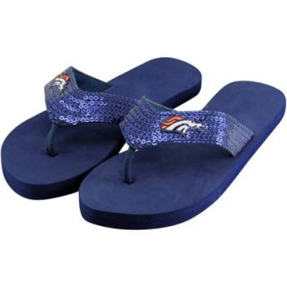 Denver Broncos Ladies Team Color Sequin Flip Flops   Royal Blue