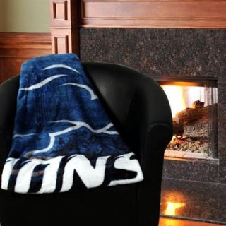 Detroit Lions 50 x 60 Roll Out Series Royal Plush Blanket Throw   Royal Blue