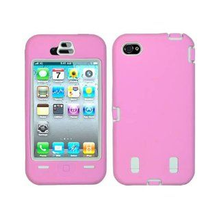 Cell Phone Snap on Cover Fits Apple iPhone 4 4S White Rubberized Plastic Inner And Light Pink Silicone Outer Hybrid Case AT&T (does NOT fit Apple iPhone or iPhone 3G/3GS or iPhone 5/5S/5C) Cell Phones & Accessories