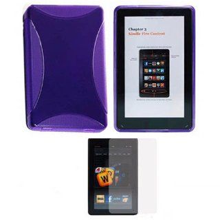 "Soft Skin Case Fits  Kindle Fire 2011 Purple TPU Soft Skin + LCD Screen Protector  ( does not fit Kindle Fire HD 7"" or Kindle Fire HD 8.9"") (Please carefully see the 2nd image to locate the correct model of your Kindle) Cell Phones & Accesso"